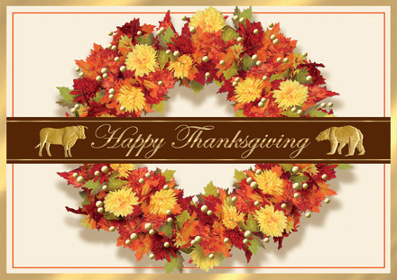 Wall St. Thanksgiving Wreath Cards