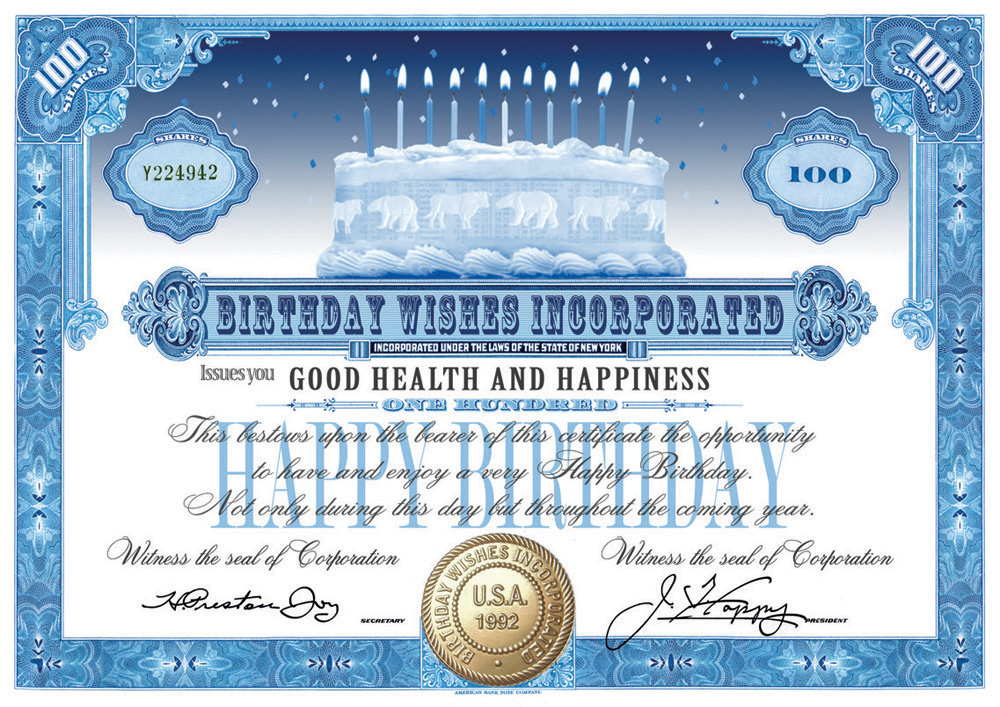 Wall Street Cards Stock Certificate Happy Birthday Cards Wall